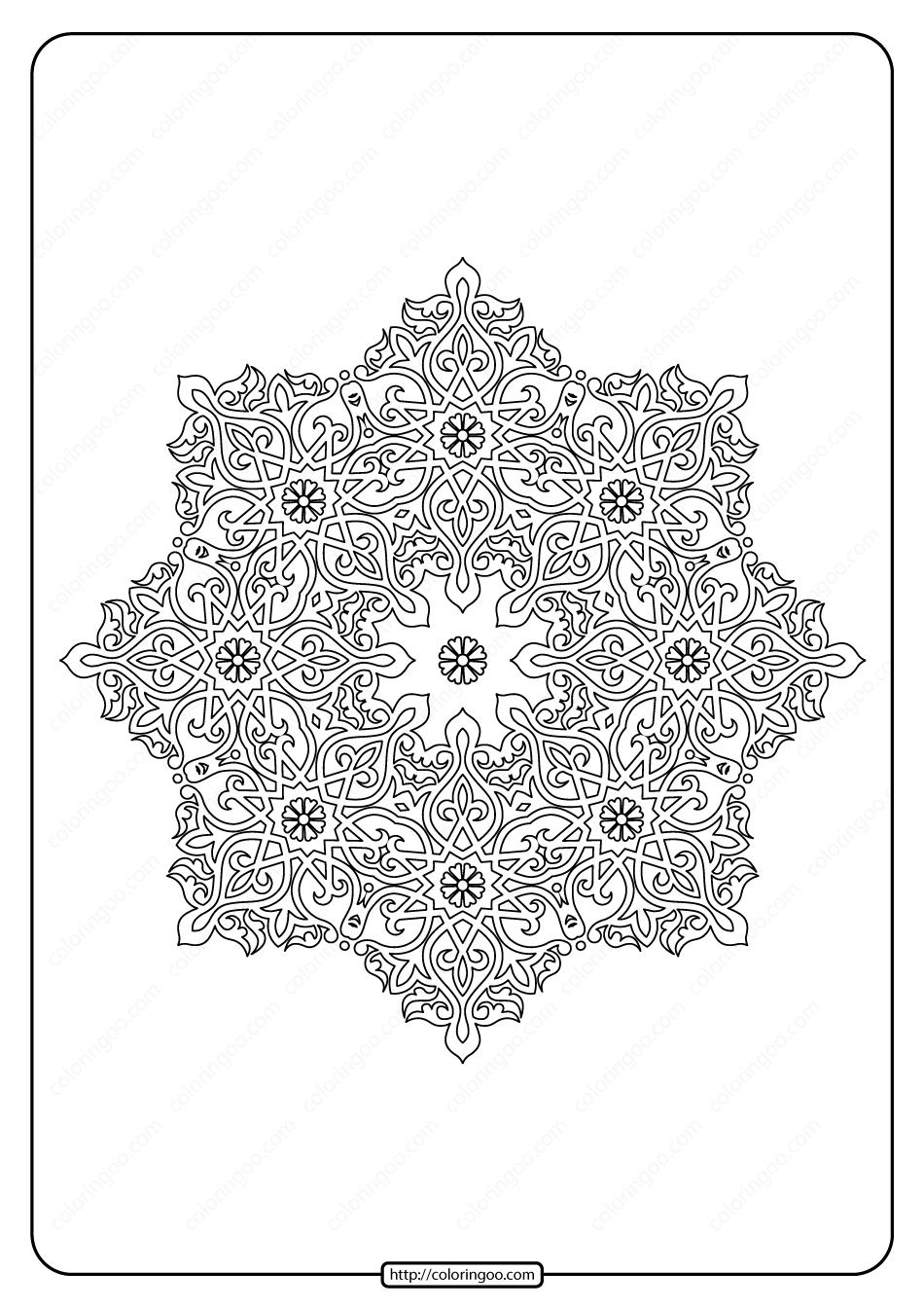 Free Printable Mandala Pattern Coloring Page 50