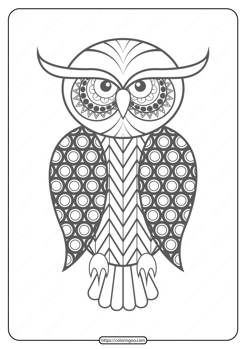 Free Printable Owl Pdf Animals Coloring Page 009