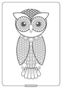 Free Printable Owl Pdf Animals Coloring Pages 012