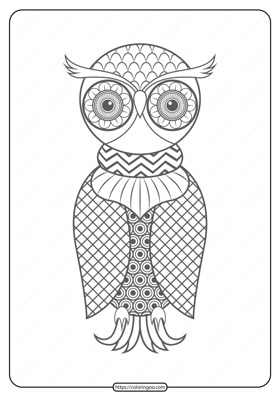 Free Printable Owl Pdf Animals Coloring Pages 013