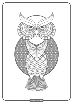 Free Printable Owl Pdf Animals Coloring Pages 015