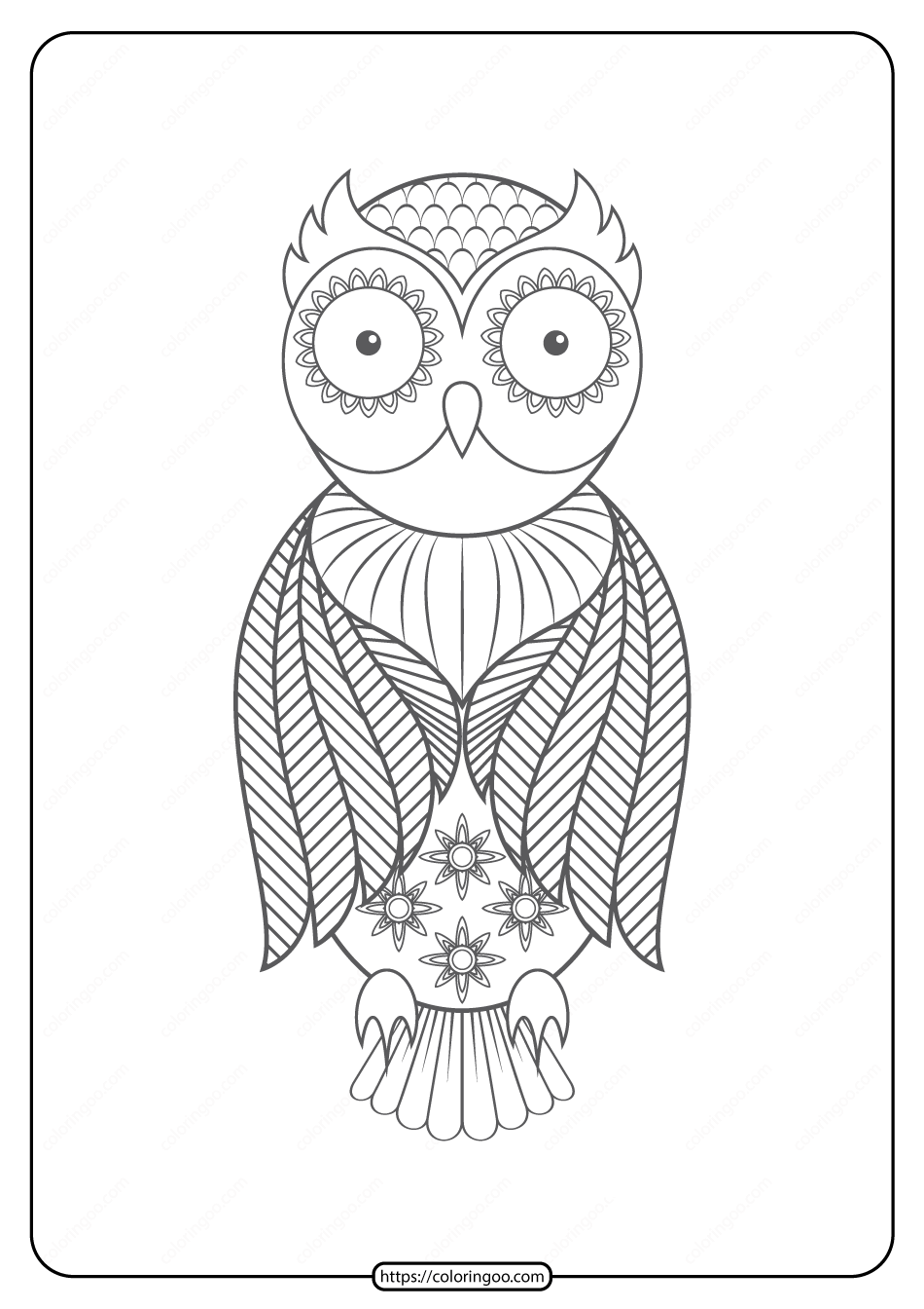 Free Printable Owl Pdf Animals Coloring Pages 016
