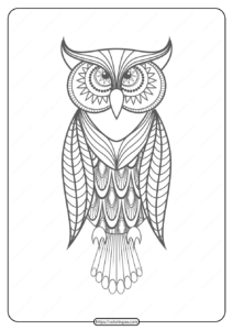 Free Printable Owl Pdf Animals Coloring Pages 017