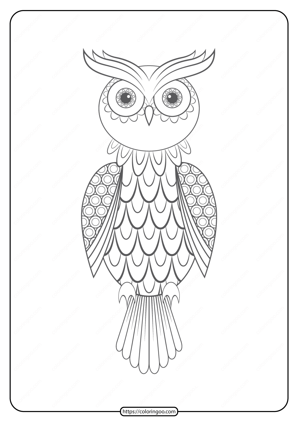 Free Printable Owl Pdf Animals Coloring Pages 018