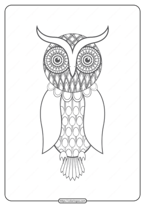Free Printable Owl Pdf Animals Coloring Pages 019