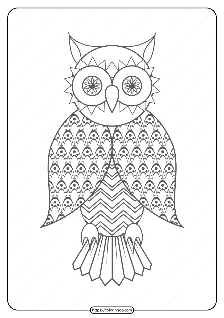 Free Printable Owl Pdf Animals Coloring Pages 020