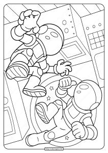 Free Printable SpaceAstronauts Pdf Coloring Page