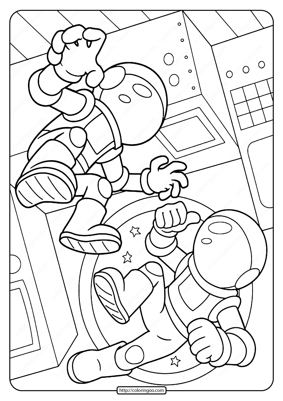Free Printable Space Astronauts Pdf Coloring Page