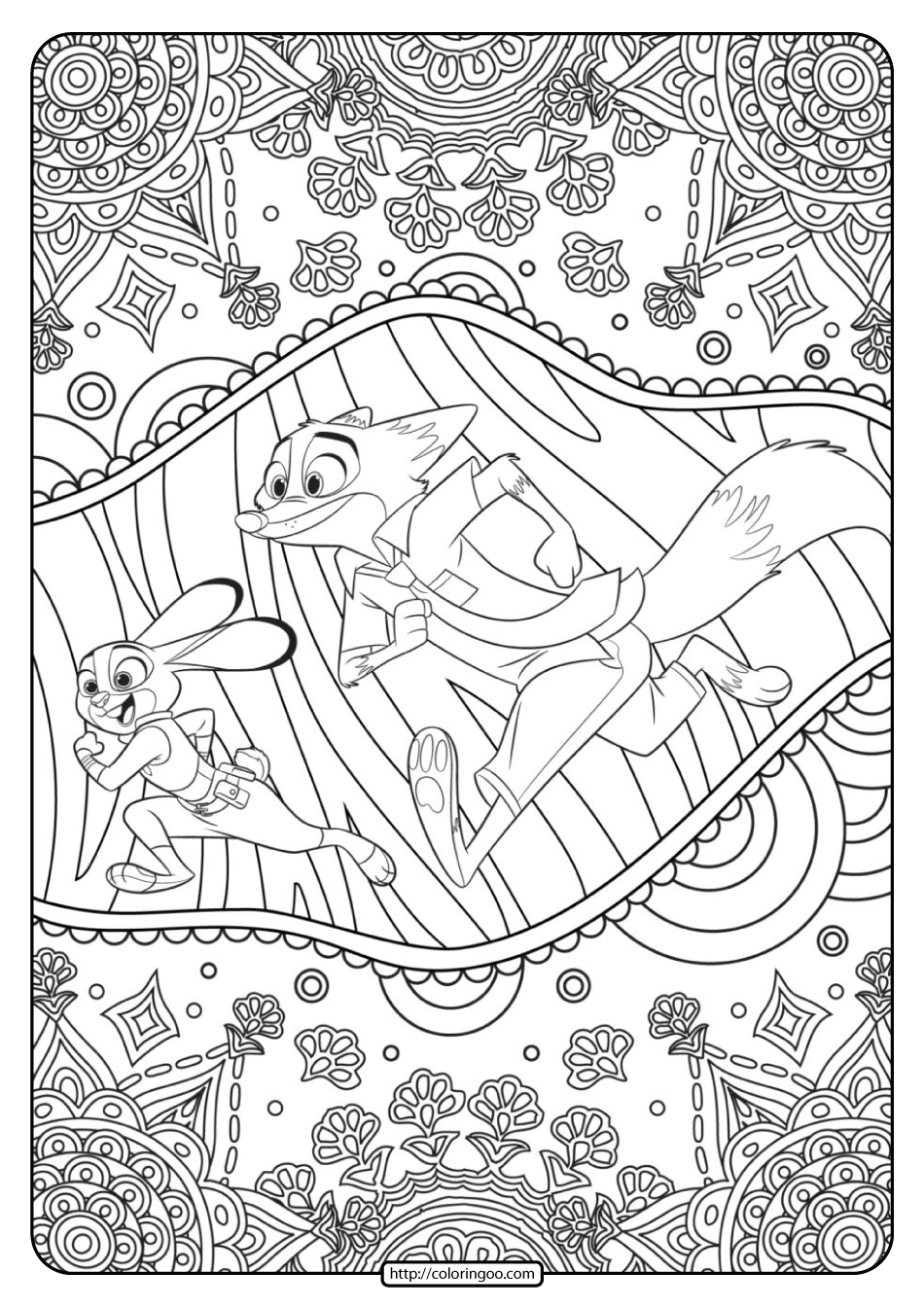 Zootopia Judy Hopps and Nick Wilde Coloring Page