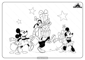 Disney Mickey Minnie and Goofy Pdf Coloring Page