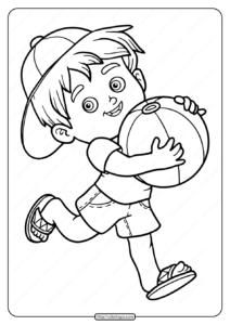 Free Printable A Boy Eith Ball Pdf Coloring Page