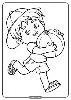 Free Printable A Boy Eith Ball Pdf Coloring Page