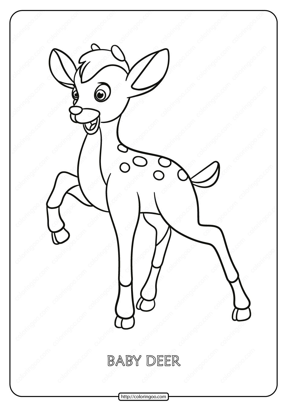 Free Printable Baby Deer Pdf Coloring Page