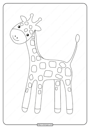 Free Printable Baby Giraffe Pdf Coloring Page