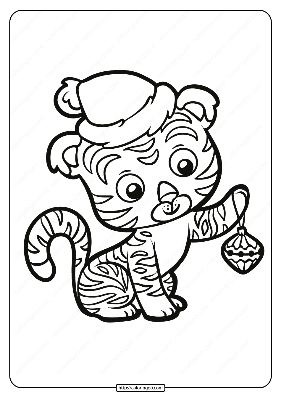 Free Printable Baby Tiger Pdf Coloring Page