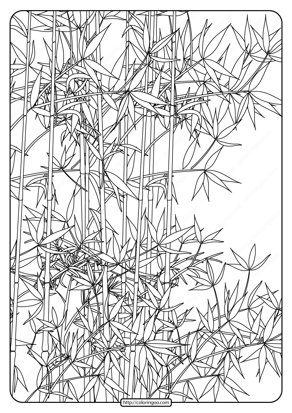 Free Printable Bamboo Garden Pdf Coloring Page