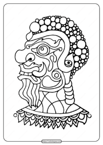Free Printable Barong Mask Pdf Coloring Page