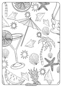 Free Printable Beach Pattern Pdf Coloring Page