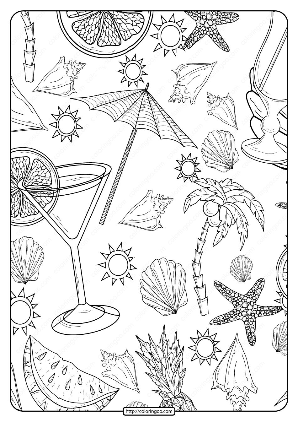 Free Printable Beach Pattern Pdf Coloring Page
