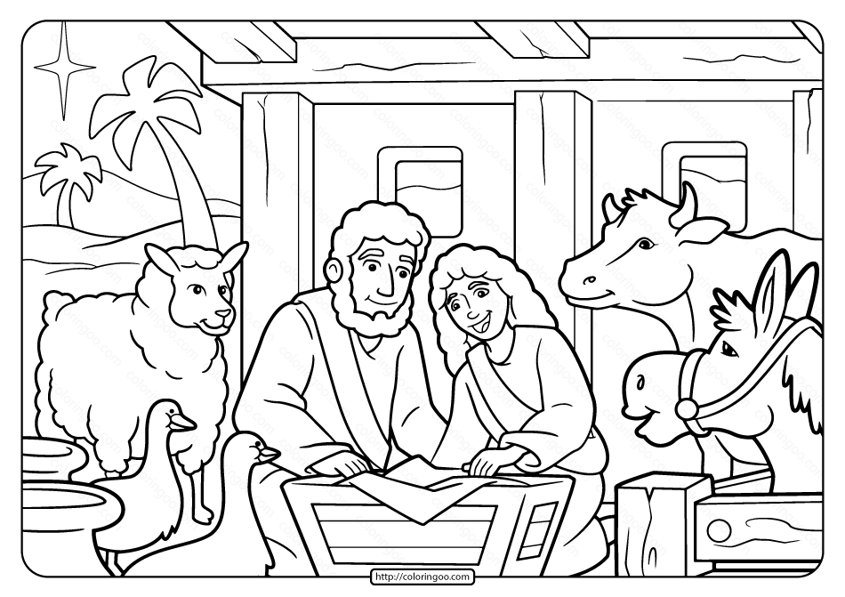 Free Printable Christmas Manger Pdf Coloring Page