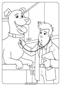 Free Printable Dog at The Vet Coloring Page