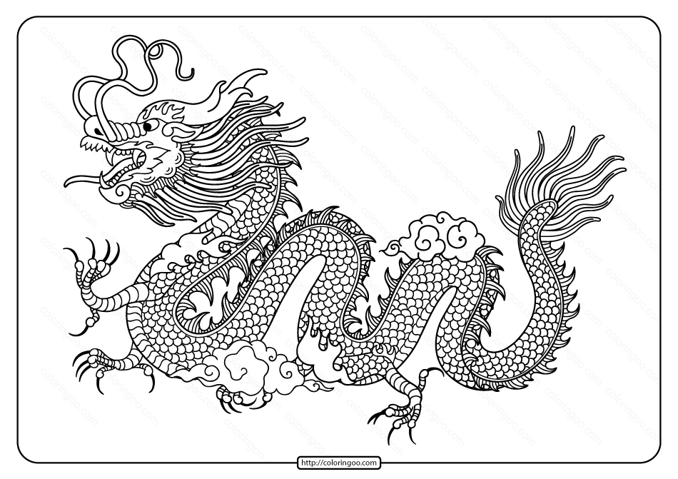 Free Printable Dragon Pdf Coloring Page
