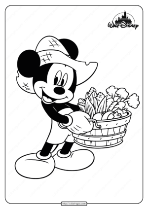 Free Printable Farmer Mickey Mouse Coloring Page