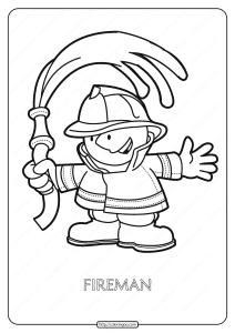 Free Printable Fireman Pdf Coloring Page