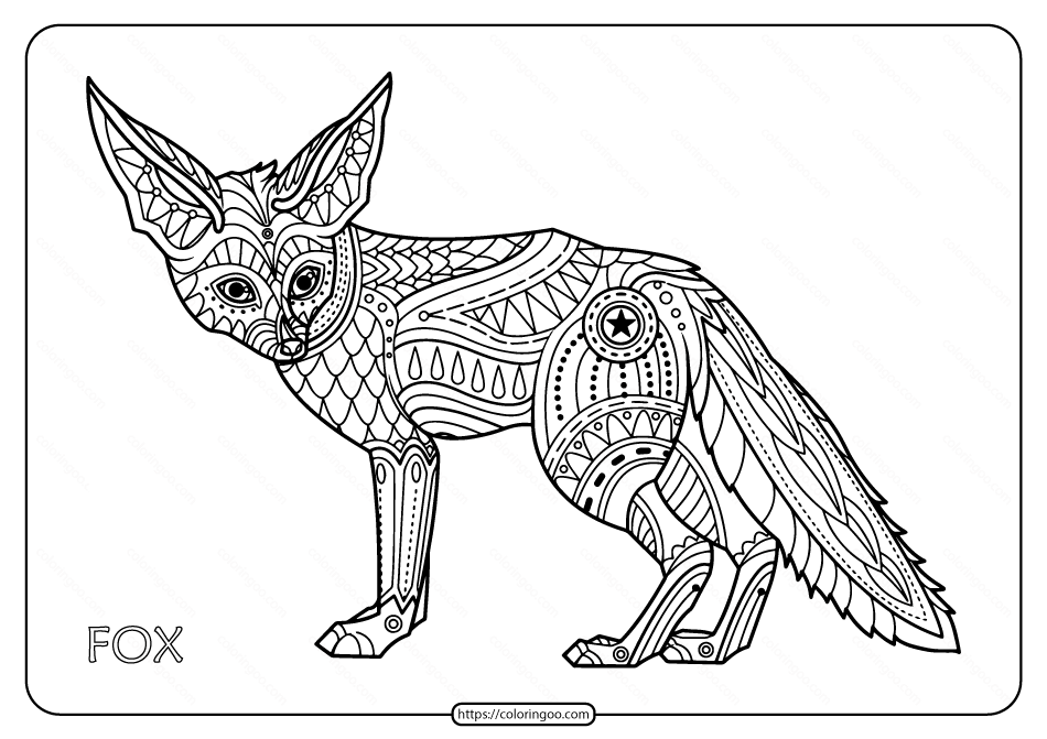 Free Printable Fox Hand Drawn Coloring Page