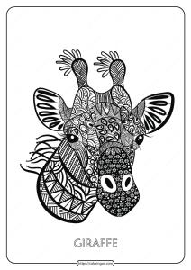 Free Printable Giraffe Mandala Coloring Page