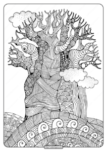 Free Printable Imposing Baobab Tree Coloring Page