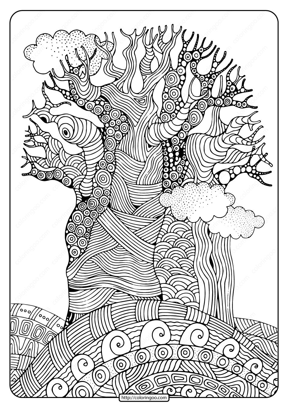 Free Printable Imposing Baobab Tree Coloring Page