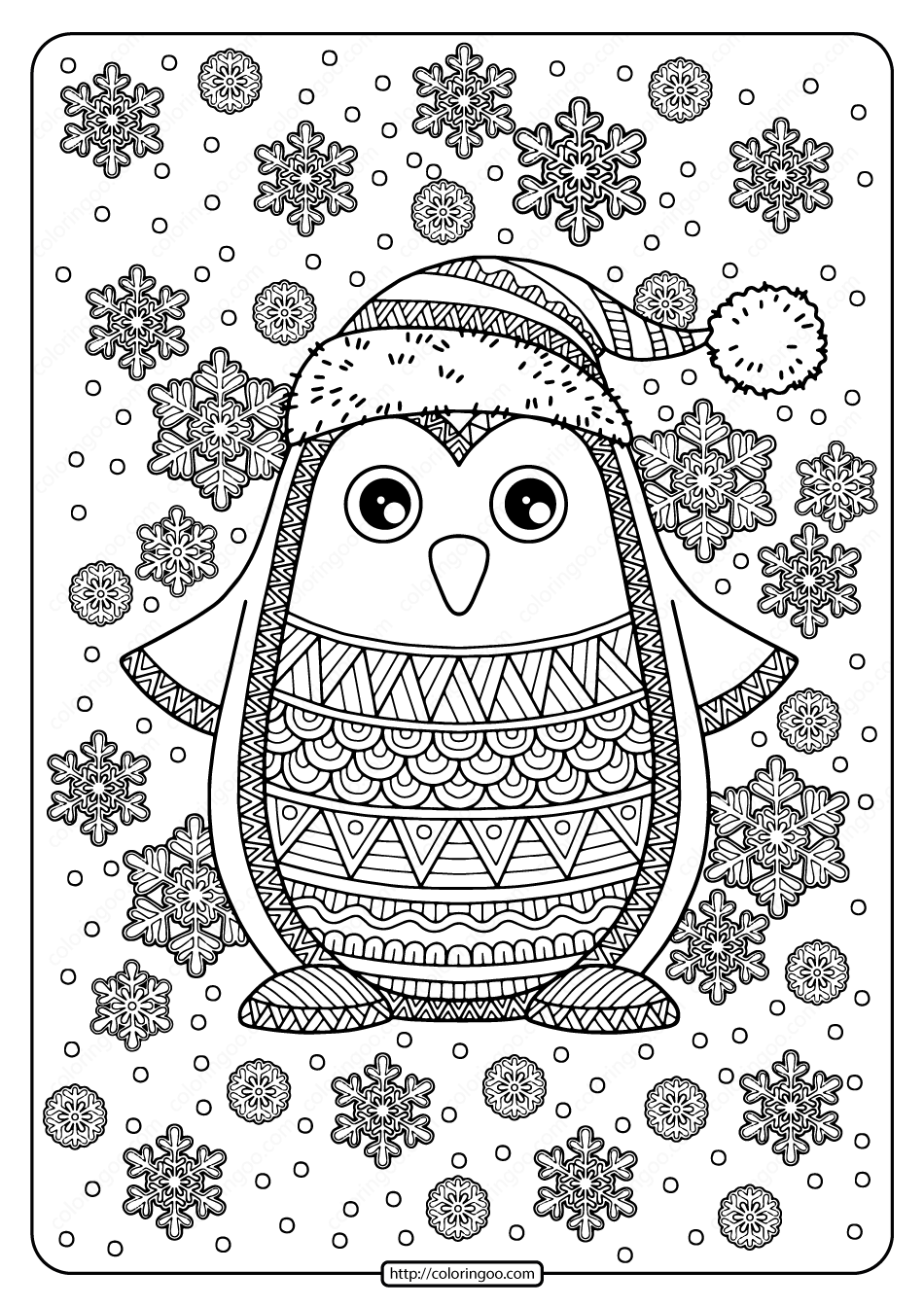 Free Printable Jolly Penguin Pdf Coloring Page