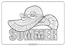 Free Printable Lady's Hat Pdf Coloring Page