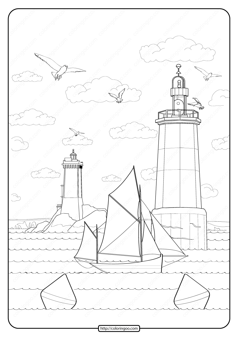 Free Printable Lighthouse Pdf Coloring Page