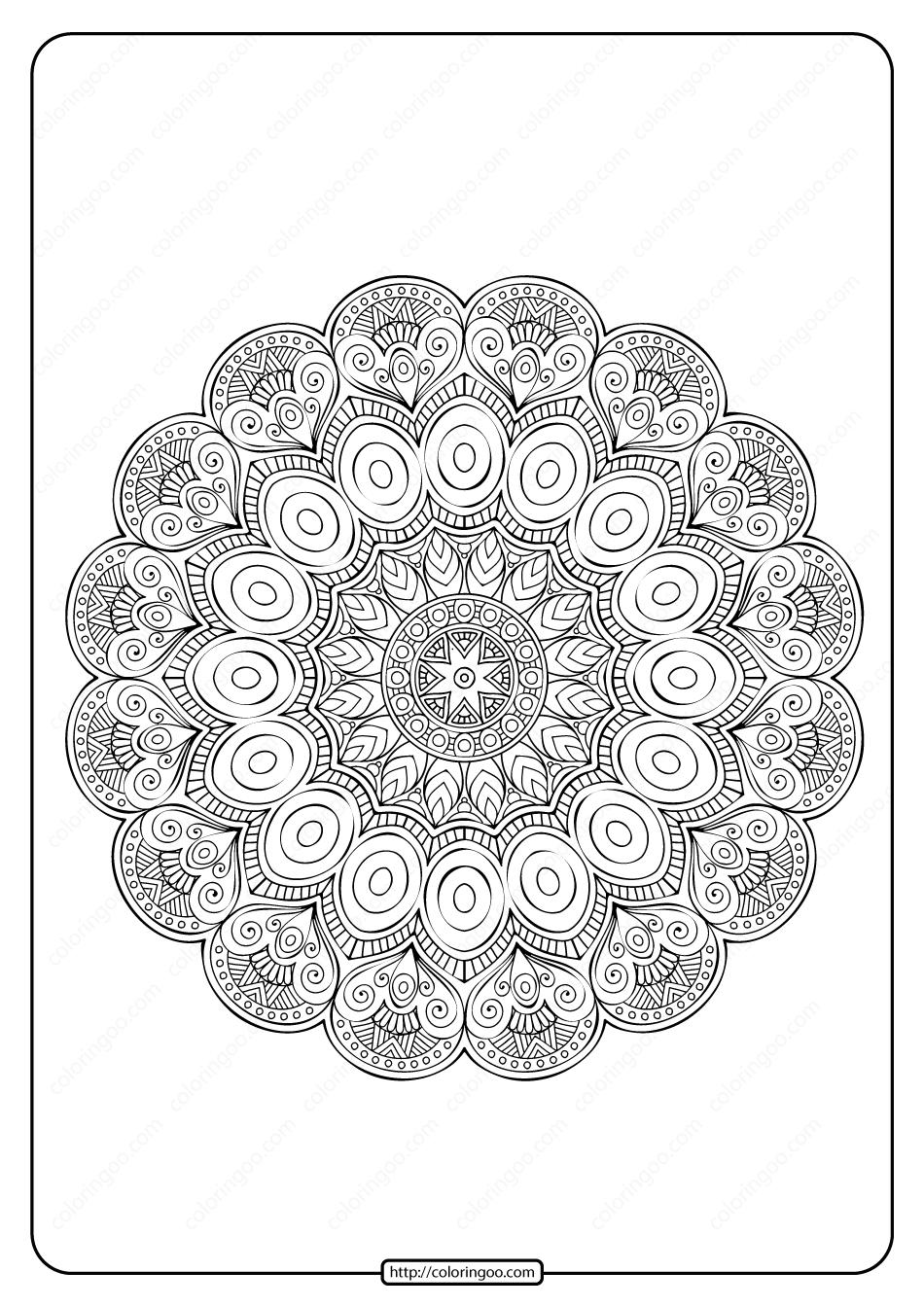 Free Printable Mandala Pattern Pdf Coloring Page