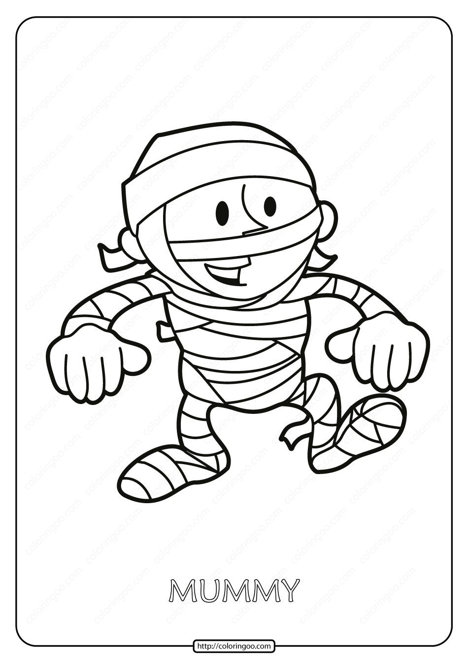 Free Printable Mummy Pdf Coloring Page