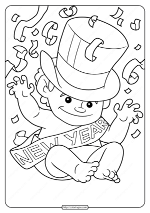Free Printable New Year Baby Pdf Coloring Page