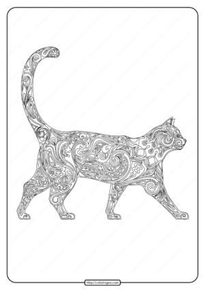 Free Printable Patterned Cat Pdf Coloring Page