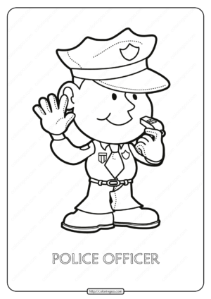 Free Printable Police Officer Pdf Coloring Page