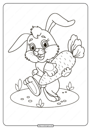 Free Printable Rabbit with Carrot Pdf Coloring Page
