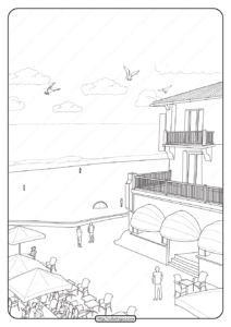 Free Printable Restaurant Pdf Coloring Page