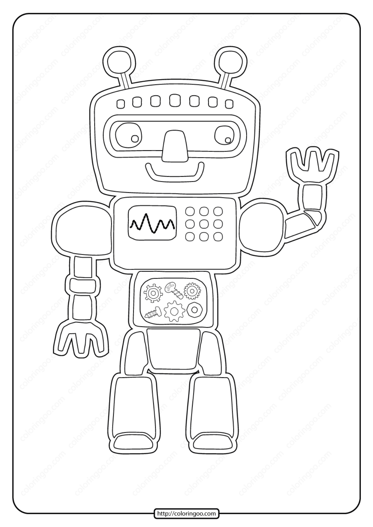 Free Printable Robots Pdf Coloring Page