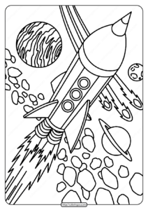Free Printable Rocket in Space Pdf Coloring Page