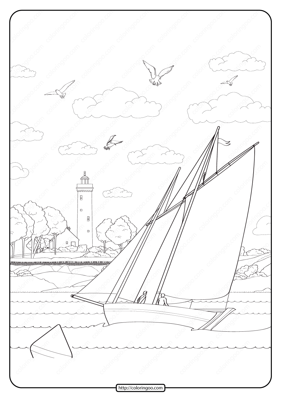 Free Printable Sailboat Pdf Coloring Page