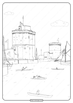 Free Printable Seaside Castle Pdf Coloring Page