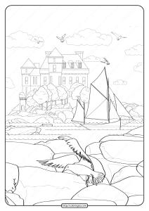 Free Printable Seaside Manor Pdf Coloring Page