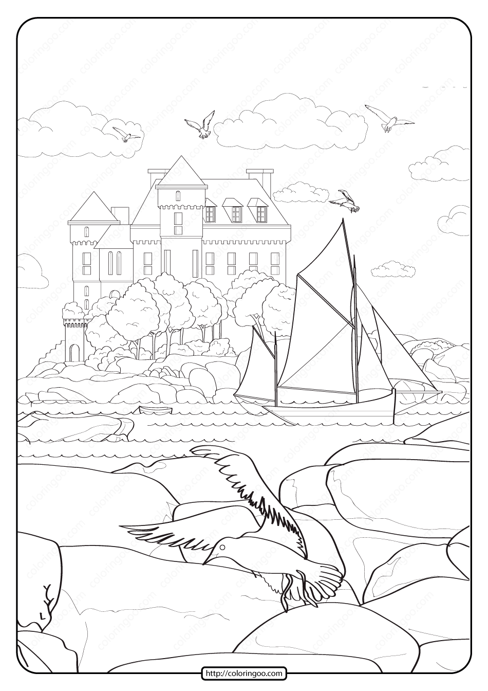 Free Printable Seaside Manor Pdf Coloring Page