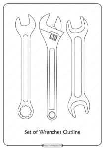 Free Printable Set of Wrenches Pdf Outline Icons