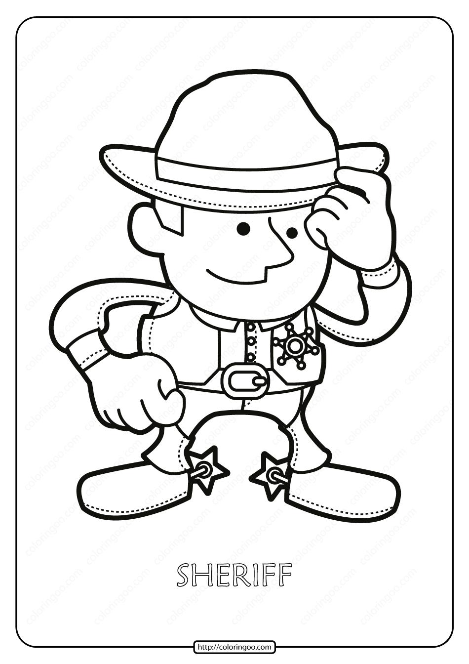 Free Printable Sheriff Pdf Coloring Page